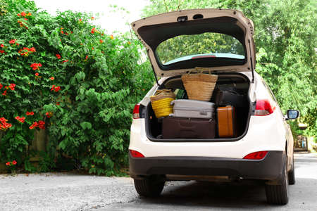 depart: Suitcases and bags in trunk of car ready to depart for holidays