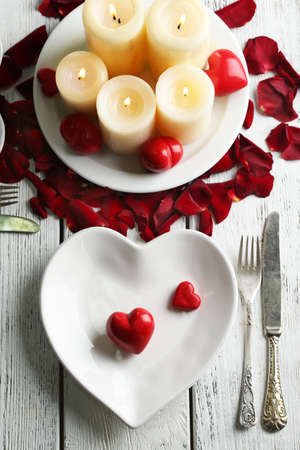 Table setting of Valentines Day photo