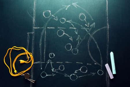 Scheme basketball game on blackboard  photo
