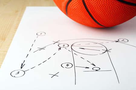 baloncesto: Juego de baloncesto Esquema en hoja de papel con el baloncesto en mesa de madera