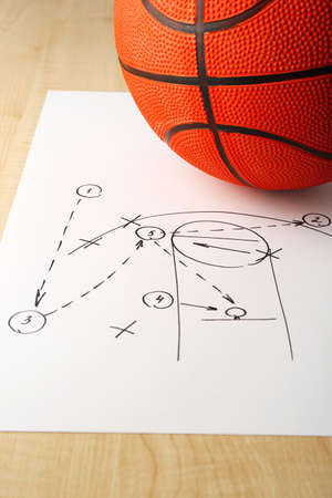 instruction sheet: Scheme basketball game on sheet of paper with basketball on wooden table
