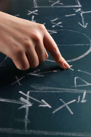 defensive: Hand under blackboard with scheme football game, closeup