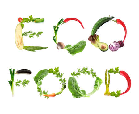 word collage: Phrase Eco Food made of fruits and vegetables isolated on white