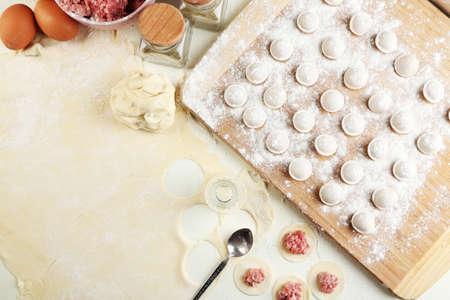 Cooking dumplings close-up photo