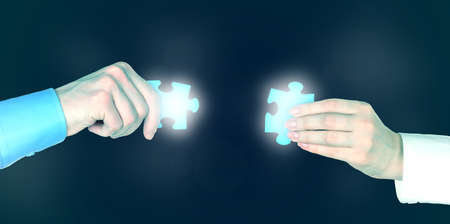 Hands with puzzle details, Partnership concept photo