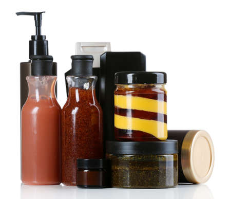 body care: Cosmetic bottles on white background
