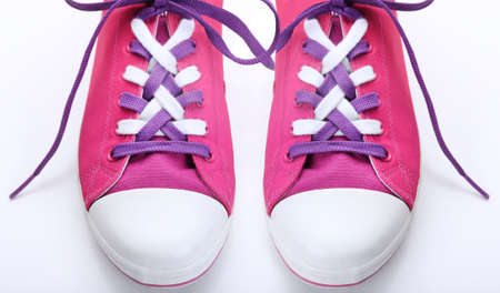 shoelaces: Sneakers with tying shoelaces, close-up