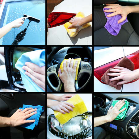wash hands: Car-wash collage Stock Photo