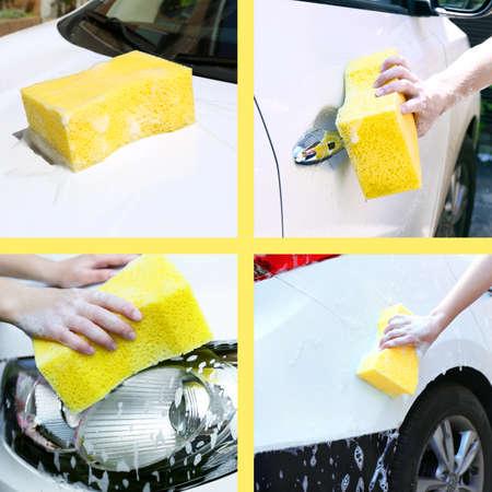 autolavado: Collage del coche de lavado