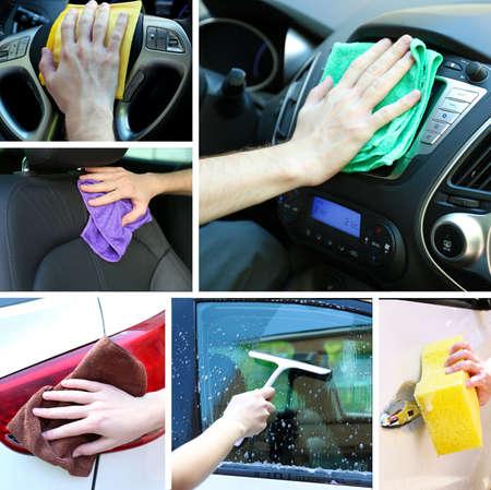 car polish: Car-wash collage Stock Photo