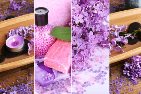 Lilac spa compositions in collage photo