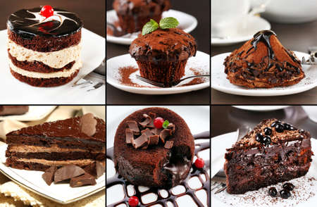 truffles: Collage of chocolate desserts