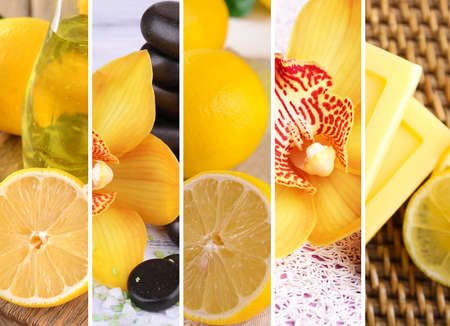 compositions: Lemon and orchid spa compositions in collage Stock Photo