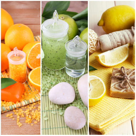 compositions: Citrus spa compositions in collage Stock Photo