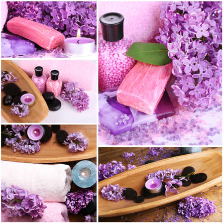 compositions: Lilac spa compositions in collage