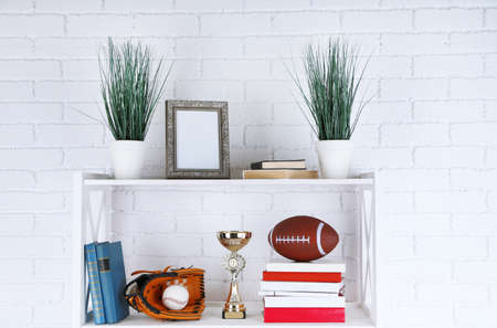 decorative objects: Bookshelves with books and decorative objects on brick wall background