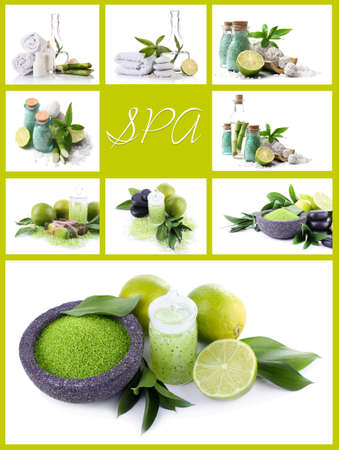 compositions: Green spa compositions in collage Stock Photo