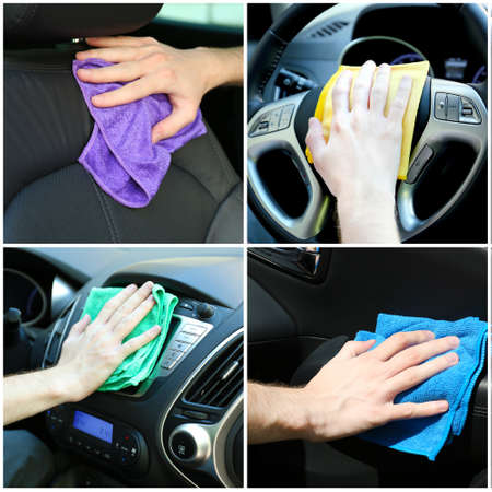 clean window: Car-wash collage Stock Photo