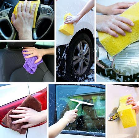 rag wheel: Car-wash collage Stock Photo
