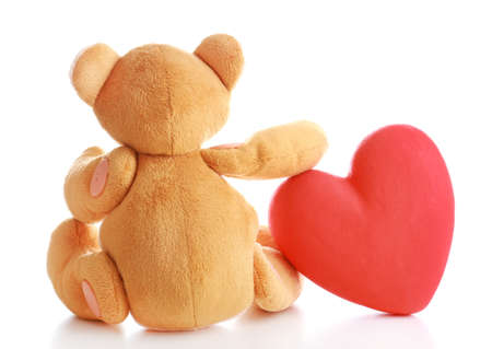 shame: Teddy Bear with red heart isolated on white