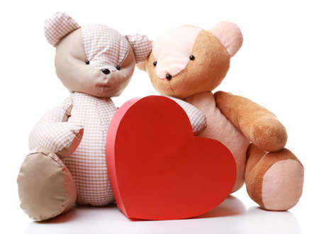 teddy bear cartoon: Teddy Bears with red heart isolated on white