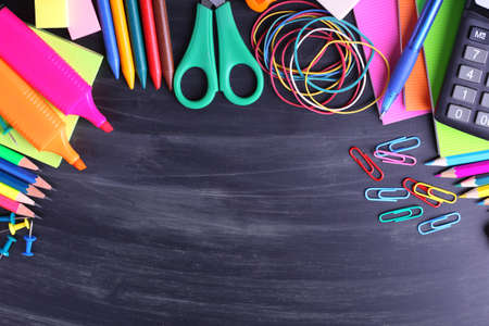 back to school supplies: School supplies close-up Stock Photo