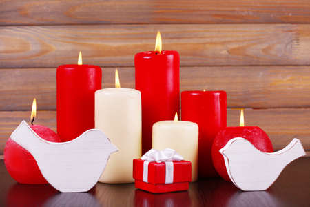 burning love: Burning candles for Valentine Day, weddings, events involving love Stock Photo