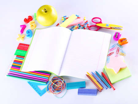 School supplies isolated on white photo