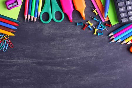 School supplies close-up Stock Photo