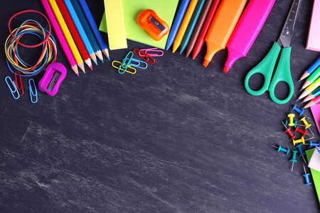 School supplies close-up Imagens