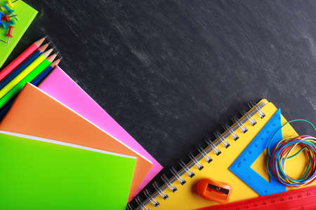 secondary education: School supplies close-up Stock Photo