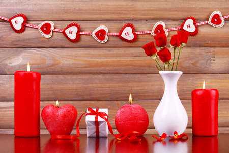 involving: Burning candles for Valentine Day, weddings, events involving love Stock Photo
