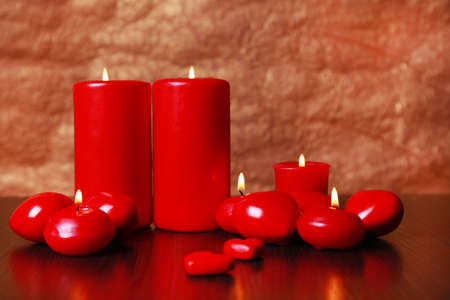 involving: Burning candles for Valentine Day, weddings,events involving love. Stock Photo