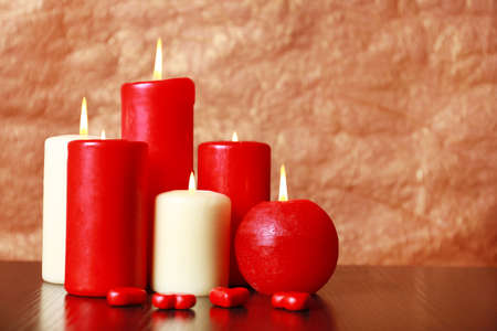 burning love: Burning candles for Valentine Day, weddings,events involving love. Stock Photo