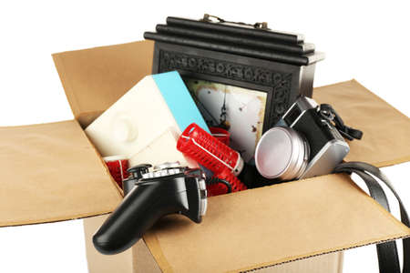 unnecessary: Box of unwanted stuff close up Stock Photo