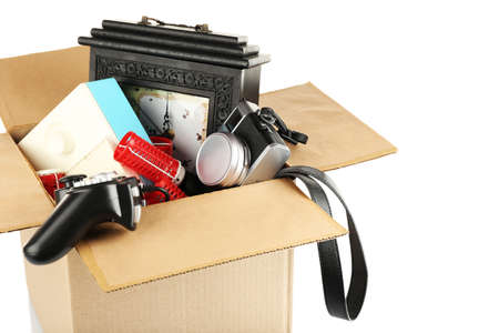 unwanted: Box of unwanted stuff isolated on white