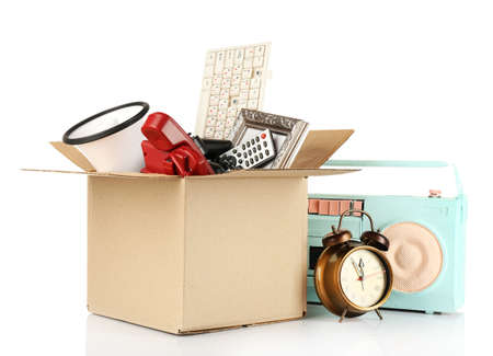 Box of unwanted stuff isolated on white Imagens - 37538053