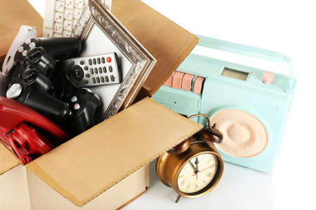 unwanted: Box of unwanted stuff close up Stock Photo