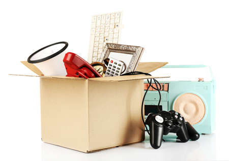 Box of unwanted stuff isolated on white Banco de Imagens - 37538082
