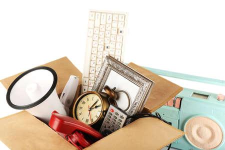 yard sale: Box of unwanted stuff close up Stock Photo
