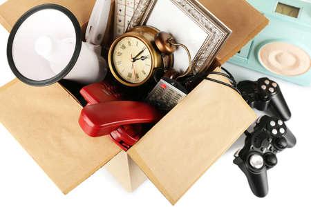 junk yard: Box of unwanted stuff close up Stock Photo