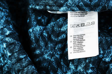 dry cleaned: Label on clothing close-up