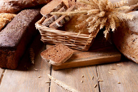 Different bread on table close-up photo