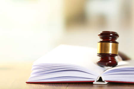 business law: Wooden judges gavel lying on law book, close up Stock Photo