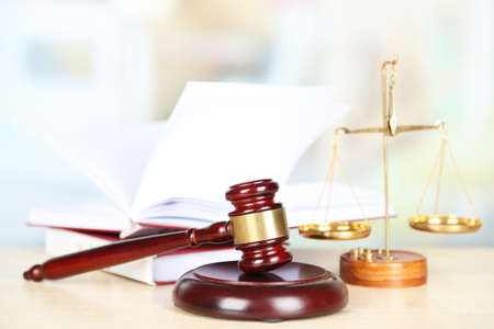 judge hammer: Wooden judges gavel on wooden table, close up Stock Photo
