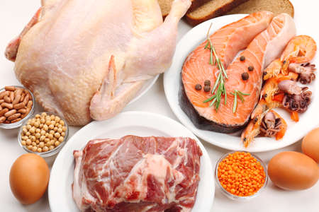 of raw: Food high in protein close-up