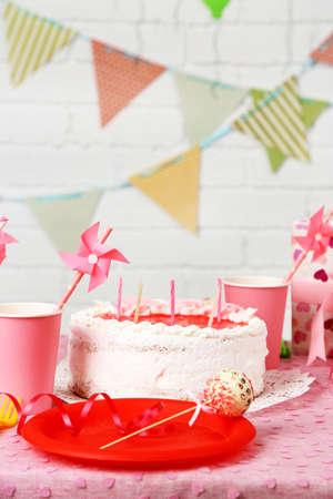 prepared: Prepared birthday table for children party