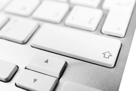 Keyboard of modern laptop close up Stock Photo