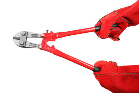 Hands holding pliers isolated on white Stock Photo