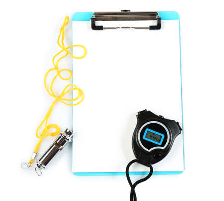 arbitrator: Clipboard with sports equipment isolated on white